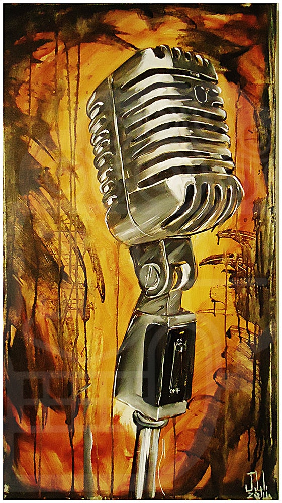 Image of JEREMY WORST Mic Original Artwork Signed Print poster Nipsey Hussle art ermias wall music microphone