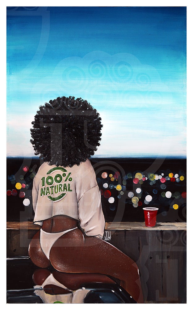 "Image of JEREMY WORST ""100% Natural"" Original Artwork African American urban girl woman sexy night time sky"