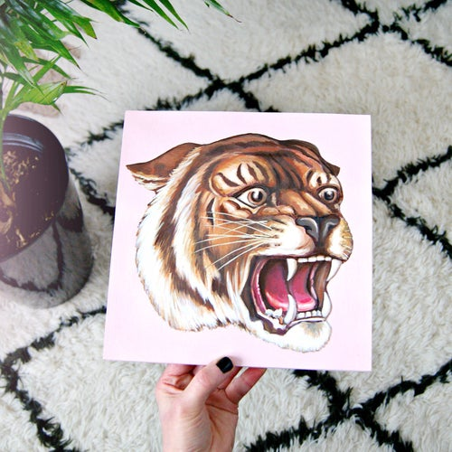 Image of Tiger - square wood plaque