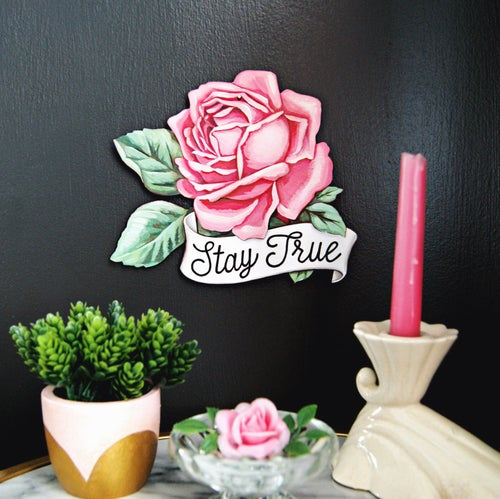 Image of Stay True Rose - large wall ornament/plaque