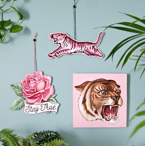 Image of Pink Tiger - large wall ornament/plaque