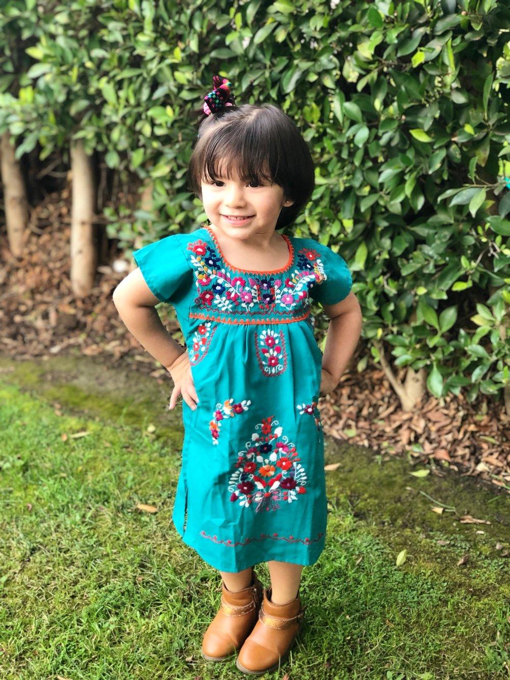 Image of Aqua Blue Mexican Girl Dress