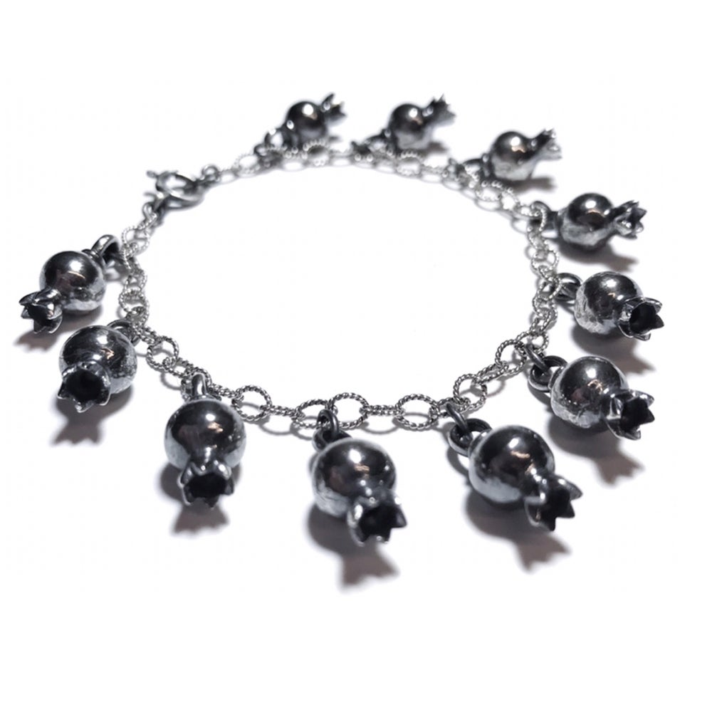 Image of Pomegranate bracelet or anklet in oxidized sterling silver