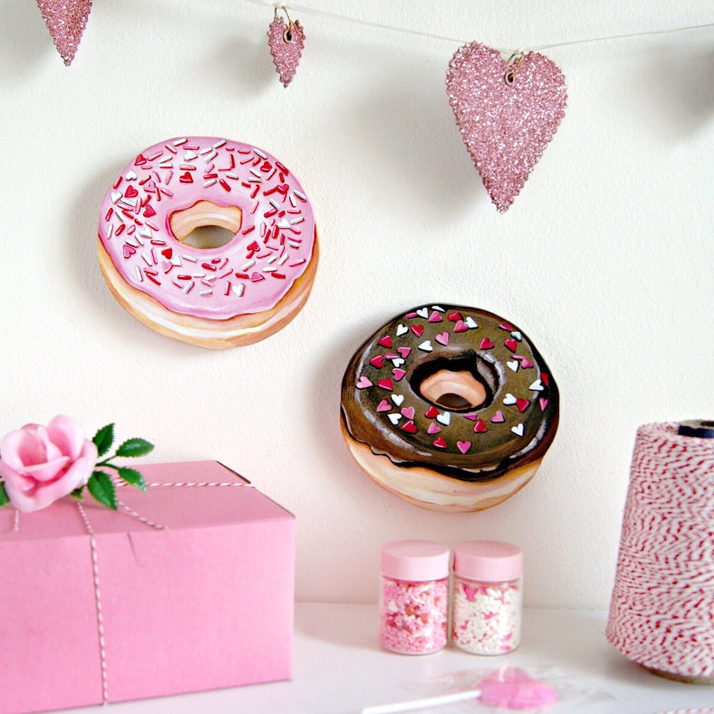 Image of Valentines Donuts - (your choice, pink or chocolate)