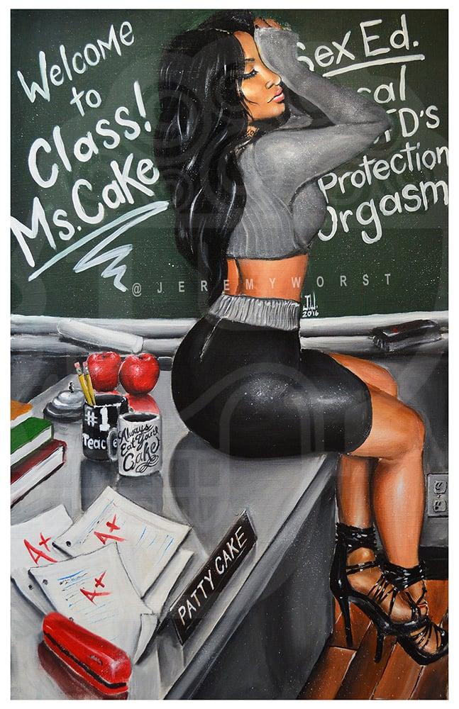Image of JEREMY WORST Ms Cake Artwork Signed Print poster Patty Cake sexy teacher school apples desk stapler