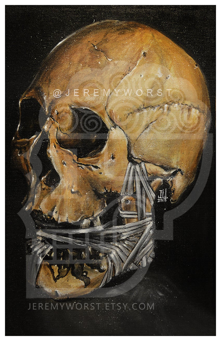 Image of JEREMY WORST Skull 2016 Canvas print skulls zombie mummy Artwork Signed Print poster