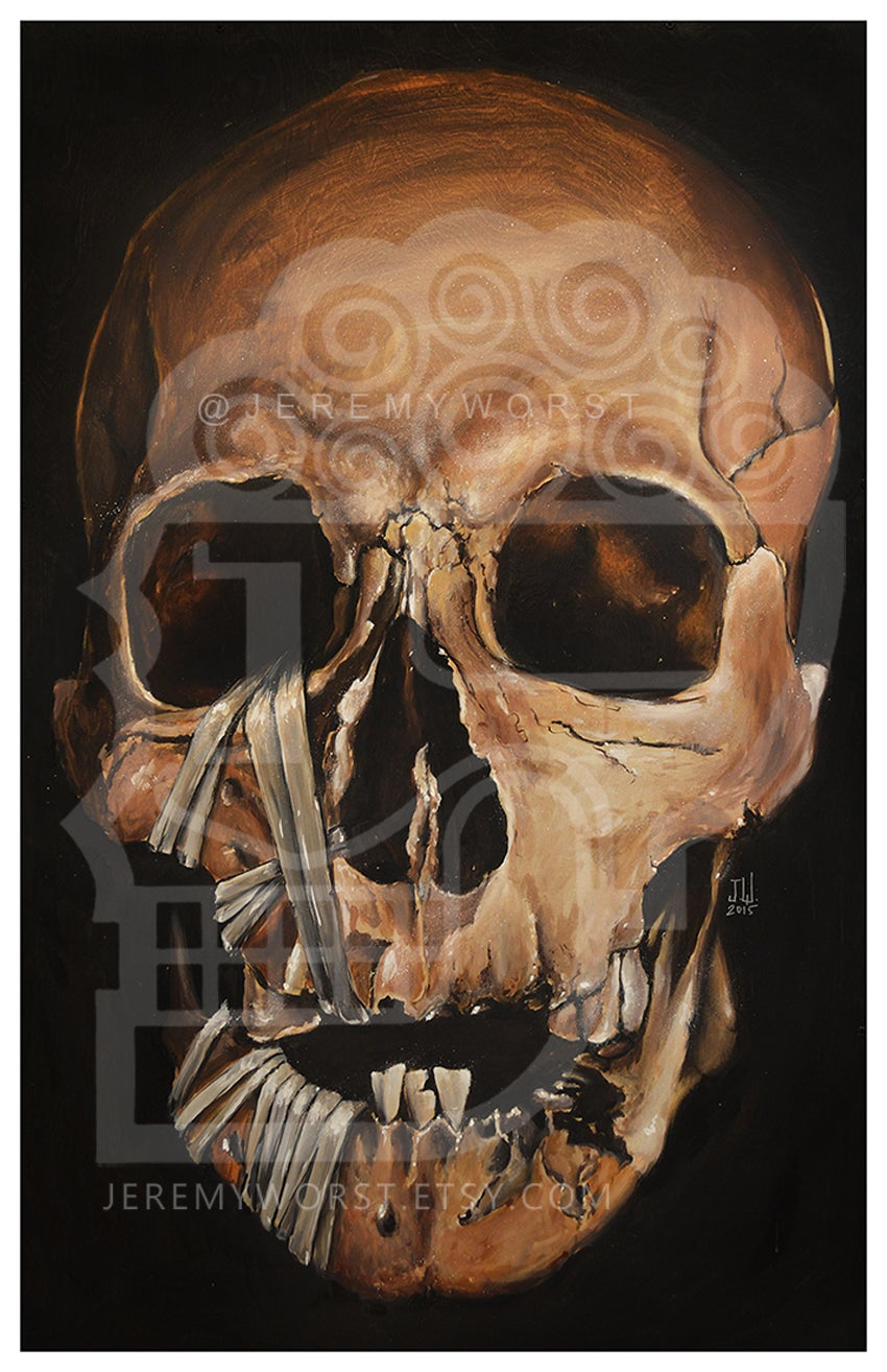 Image of JEREMY WORST Skull 2015 Canvas print skulls zombie mummy  Artwork Signed Print poster