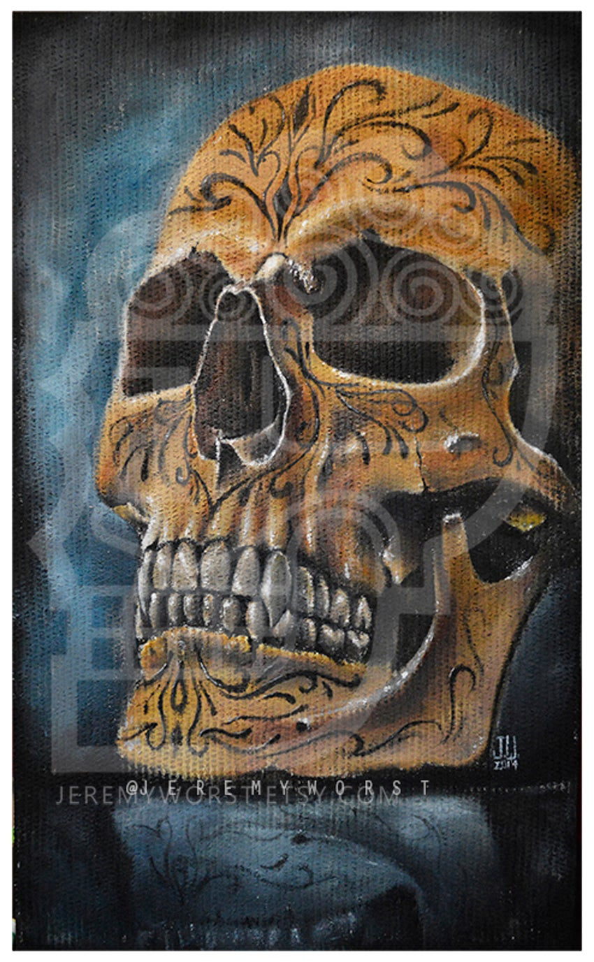Image of JEREMY WORST Skull Blue Canvas print skulls zombie mummy  Artwork Signed Print poster