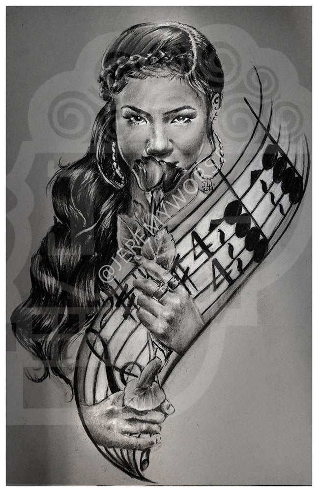Image of JEREMY WORST Jhene Aiko Pencil Drawing Sketch Artwork Signed Fine Art Print Great gift for Her