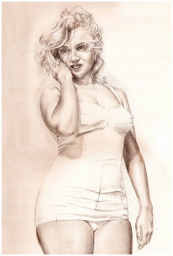 Image of JEREMY WORST Marilyn Monroe Sketch Artwork Signed Fine Art Print
