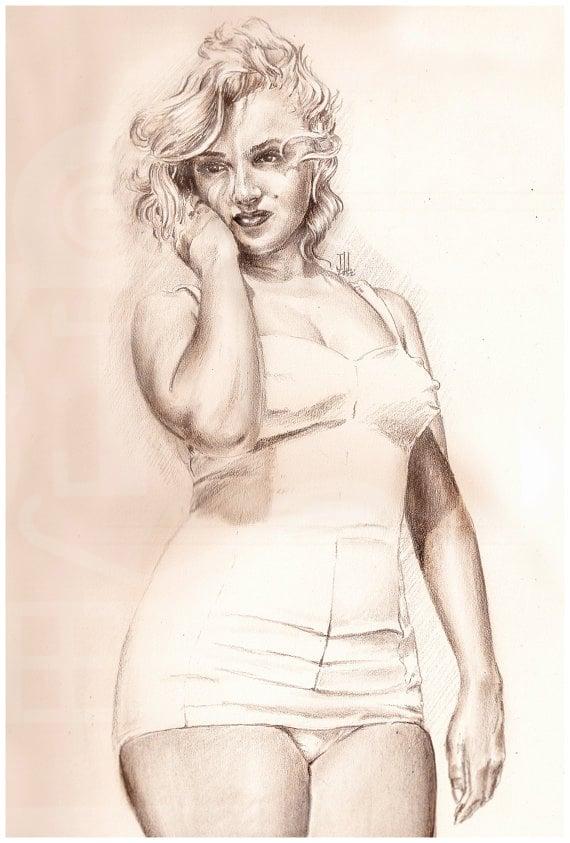 Image of JEREMY WORST Marilyn Monroe Sketch Artwork Signed Fine Art Print