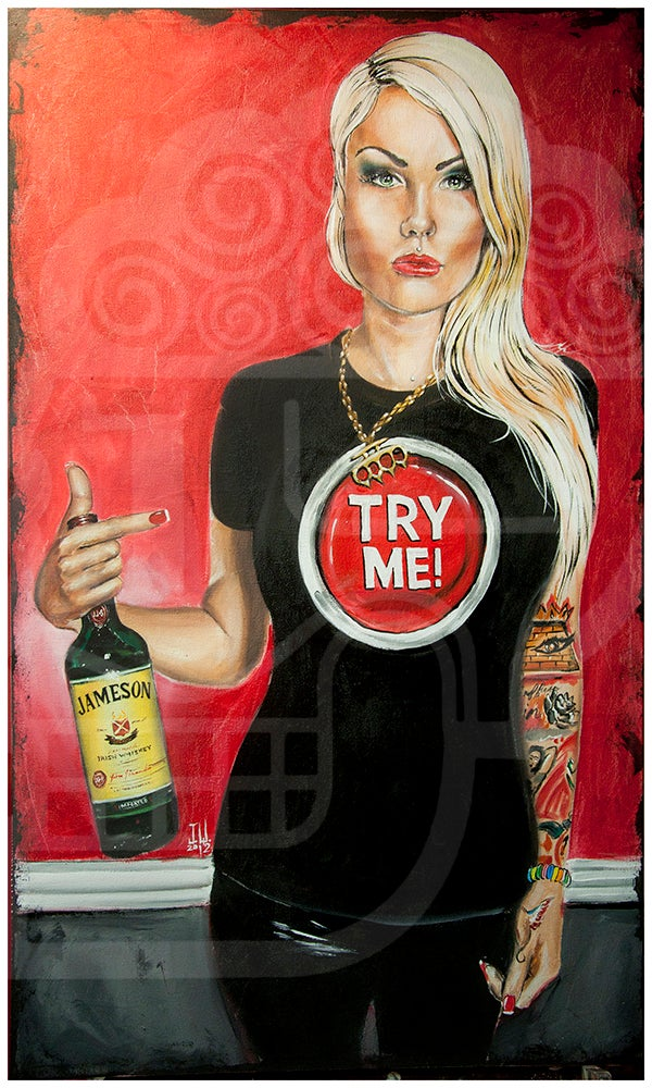Image of JEREMY WORST Try Me Jameson Whiskey Original Artwork Signed Framed Print