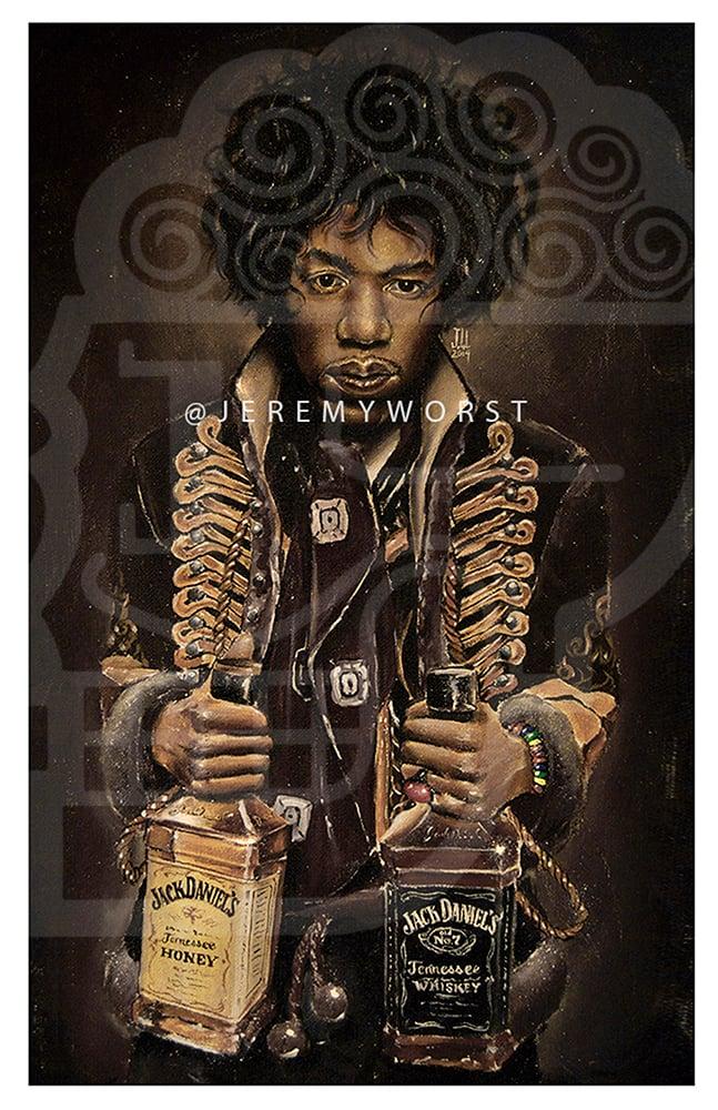 Image of JEREMY WORST Jimi's Jack Hendrix awesome Artwork Signed Poster Print poster rare jack jd jackdaniels