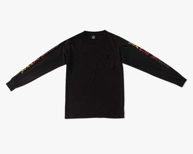 Image of L/S Script Pocket Tee - Black / Sunset