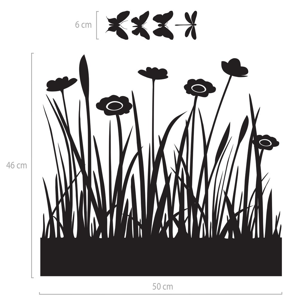 Image of Wiese mit Blumen und Schmetterlingen Festerfolie, Fensterdekoration