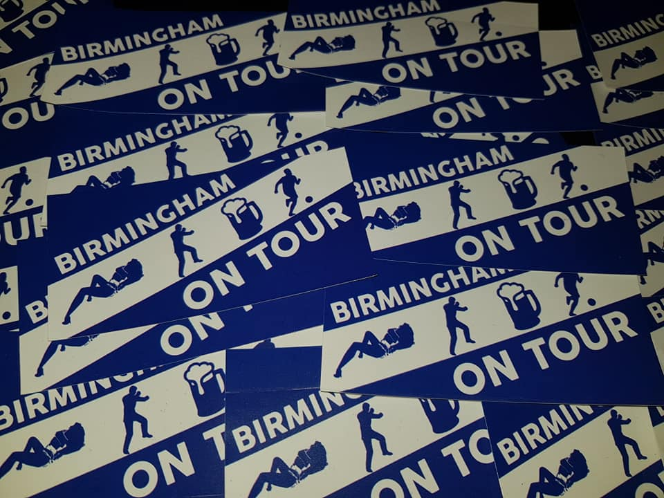 Birmingham City On Tour England, Football/Ultras 10x5cm Stickers. Pack of 25.