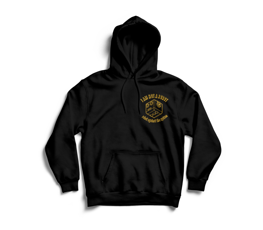Image of  I Am Not A Robot Black & Gold Hoodie