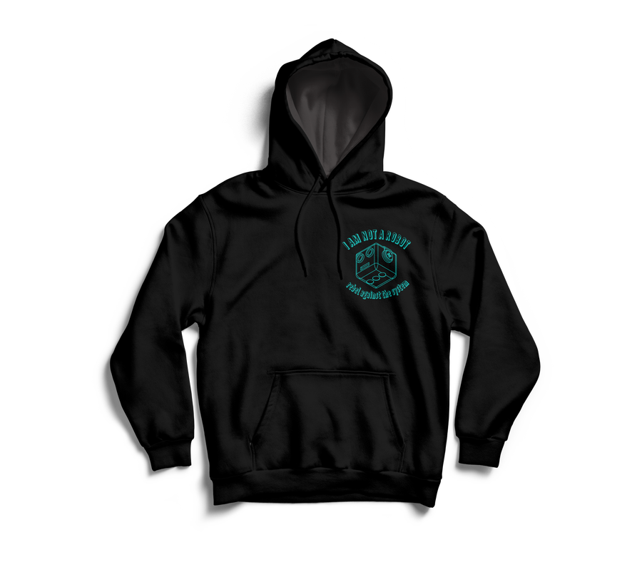 Image of I Am Not A Robot Black & Teal Hoodie