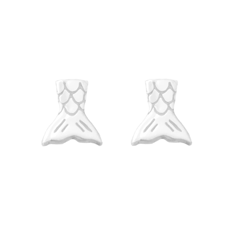 Image of Mermaid Tail Stud Earrings - Sterling Silver