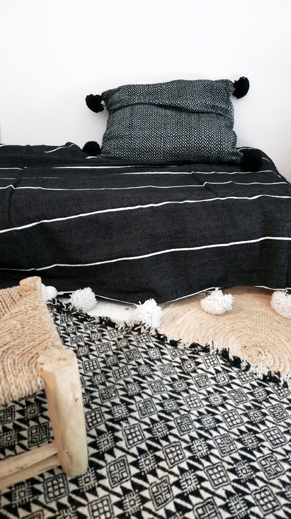 Image of Moroccan POM POM Cotton Blanket - White Stripes