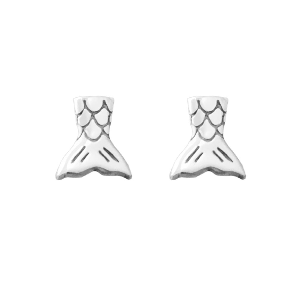 Image of Mermaid Tail Stud Earrings - Oxidized Silver