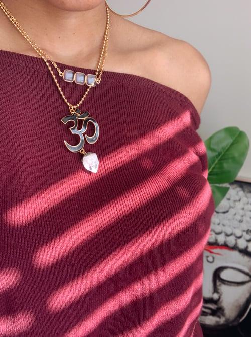 Image of HONEY DRIP • Triple Clear Quartz Bar Necklace