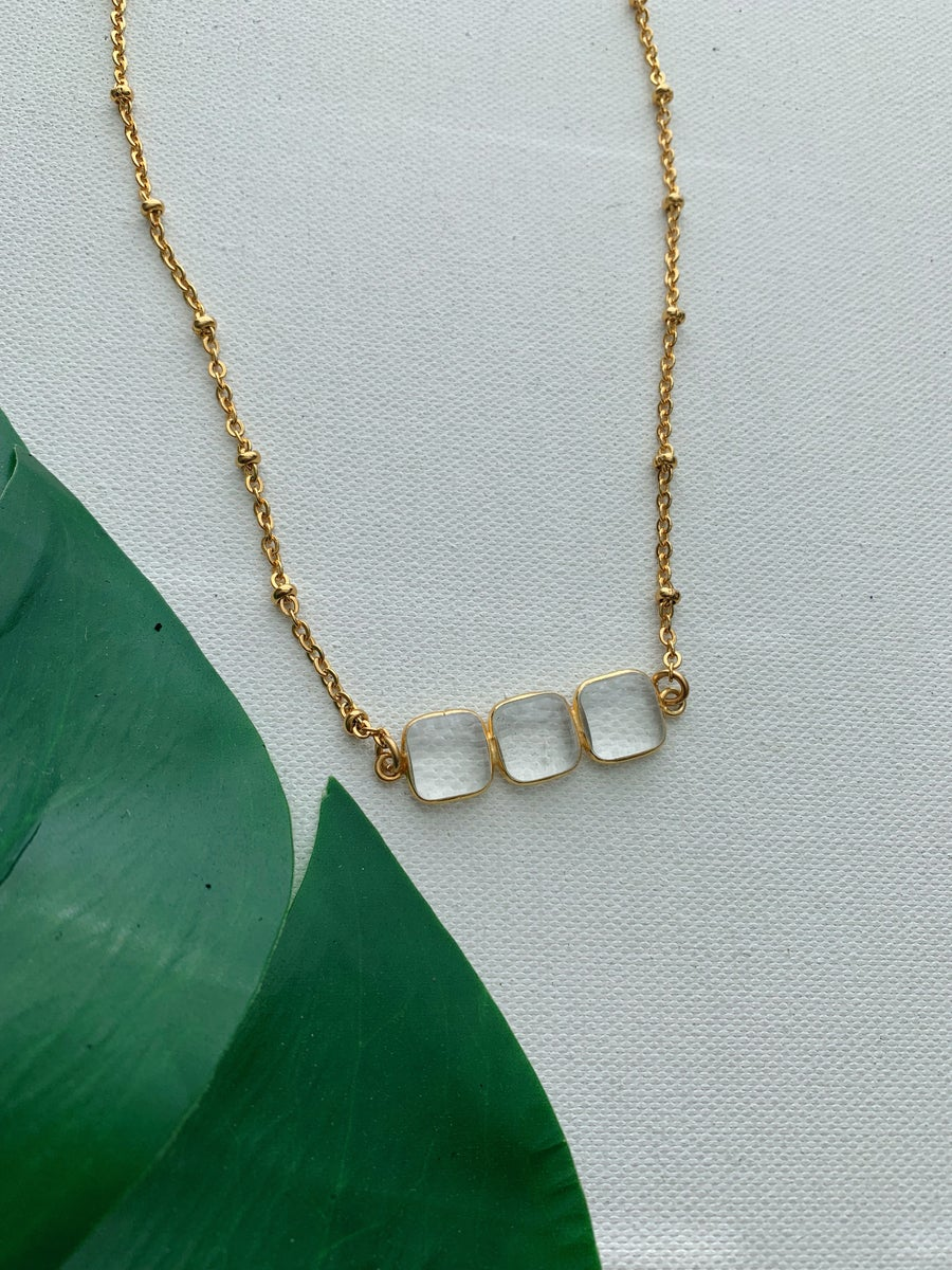 Image of HONEY • Triple Clear Quartz Bar Necklace