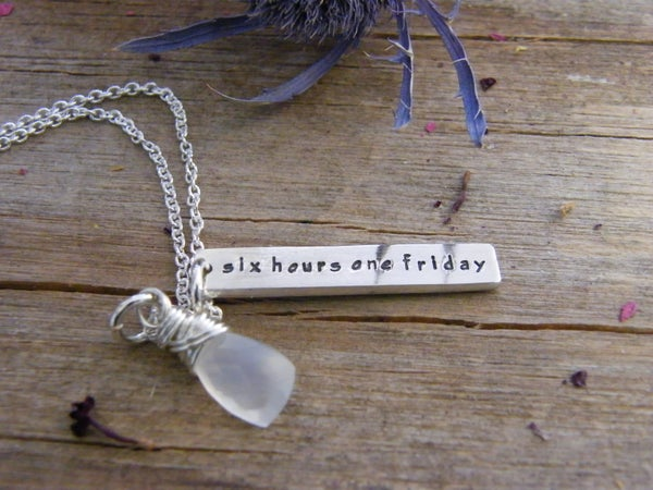 "Image of Hand Stamped Sterling Tags ""six hours one friday"" necklace"