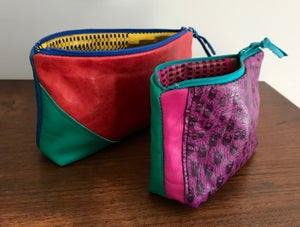 Image of red, green and blue pouch