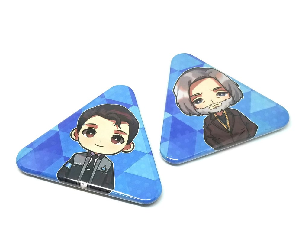 Image of Connor and Hank Triangle Button pins