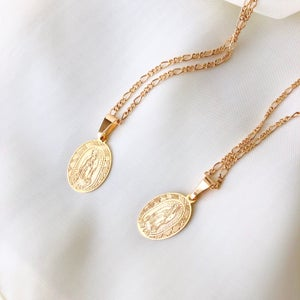Image of Virgin Mary Coin Necklace