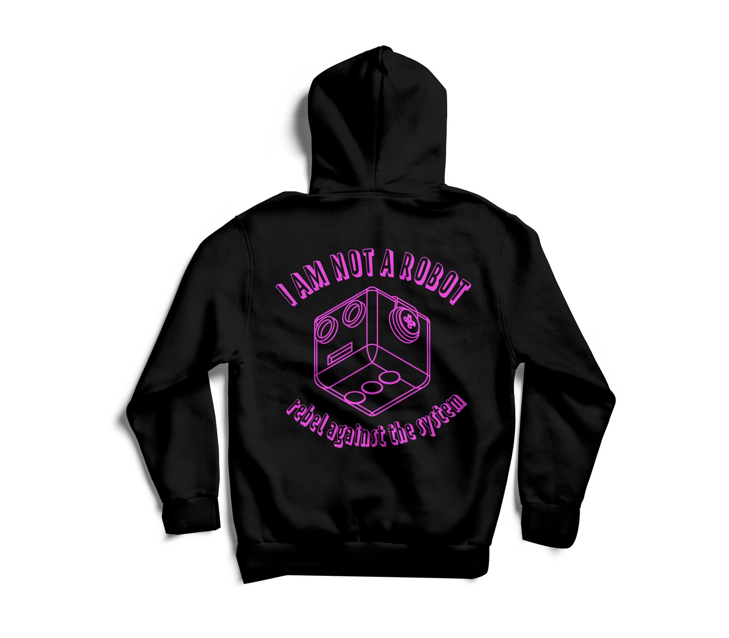 Image of I Am Not A Robot Black & Magenta Hoodie