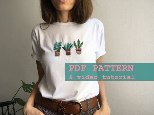Image of Hand embrodery on clothing pattern, DIY embroidery, PDF pattern, video tutorial