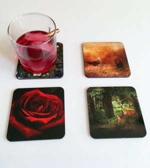Image of Nature Coasters with handmade Maple Stand, Red Rose, Wildlife, Rooster, Set of Four Coasters