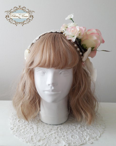 Image of Roses Headress - Cream x Pink