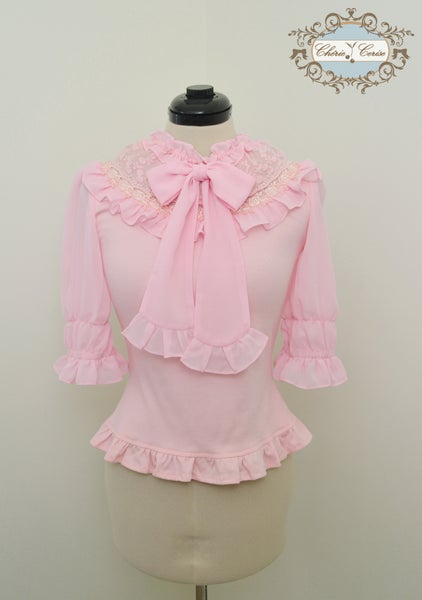 Image of Chiffon and Cotton Mid Sleeve Cutsew - Pink