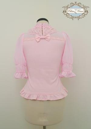 Image of Chiffon and Cotton Mid Sleeve Cutsew - Pink