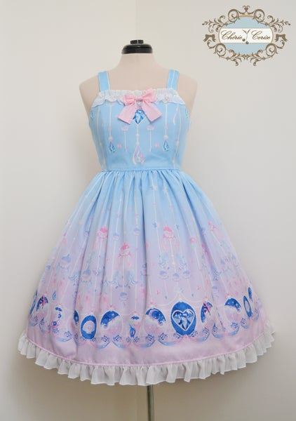 Image of Mermaid Jewelry Frill Dress- Light Blue x Pink