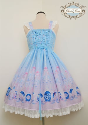 Image of Mermaid Jewelry Ribbon Rococo Dress- Light Blue x Pink - Made to Order