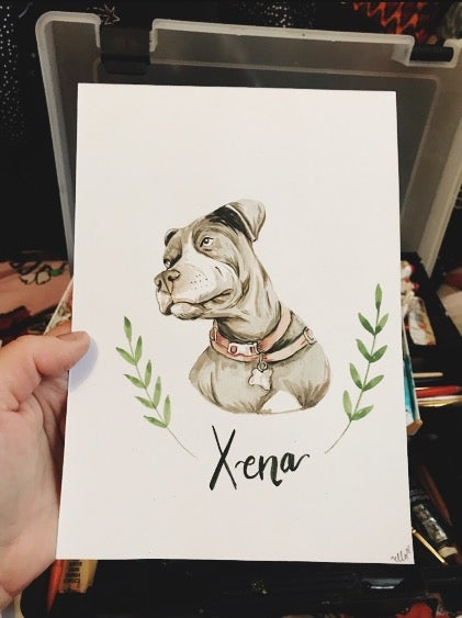 Image of Original pet portrait with name and leafy banner