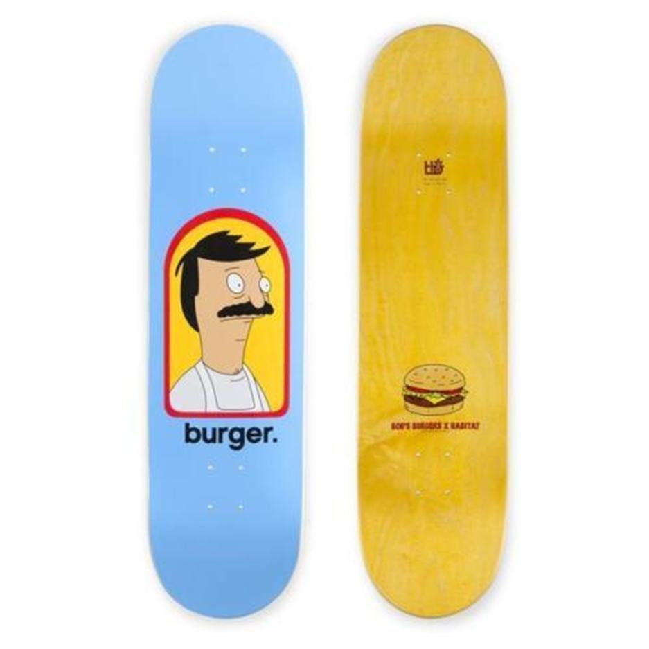 "Image of Habitat Bob's Burgers Burger 8.25"" Skateboard Deck Blue"