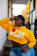 Image 2 of 'BODY' Crop Hoodie GOLD