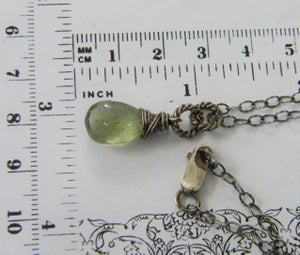 Image of moss aquamarine sterling silver wire wrapped necklace