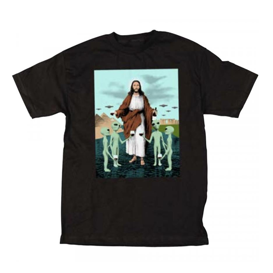 Image of SKATE MENTAL JESUS WITH ALIENS TSHIRT BLACK