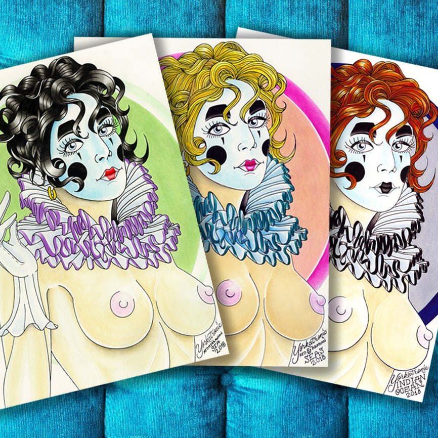 Image of Painted while at Sea. Ginger, Bombshell & Raven Orthodox Ladies Pierrot