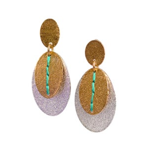 Image of Sewn Up Dangly Earrings