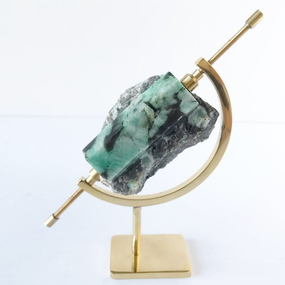Image of Polished Rough Emerald no.02 Nova Collection Brass Pairing