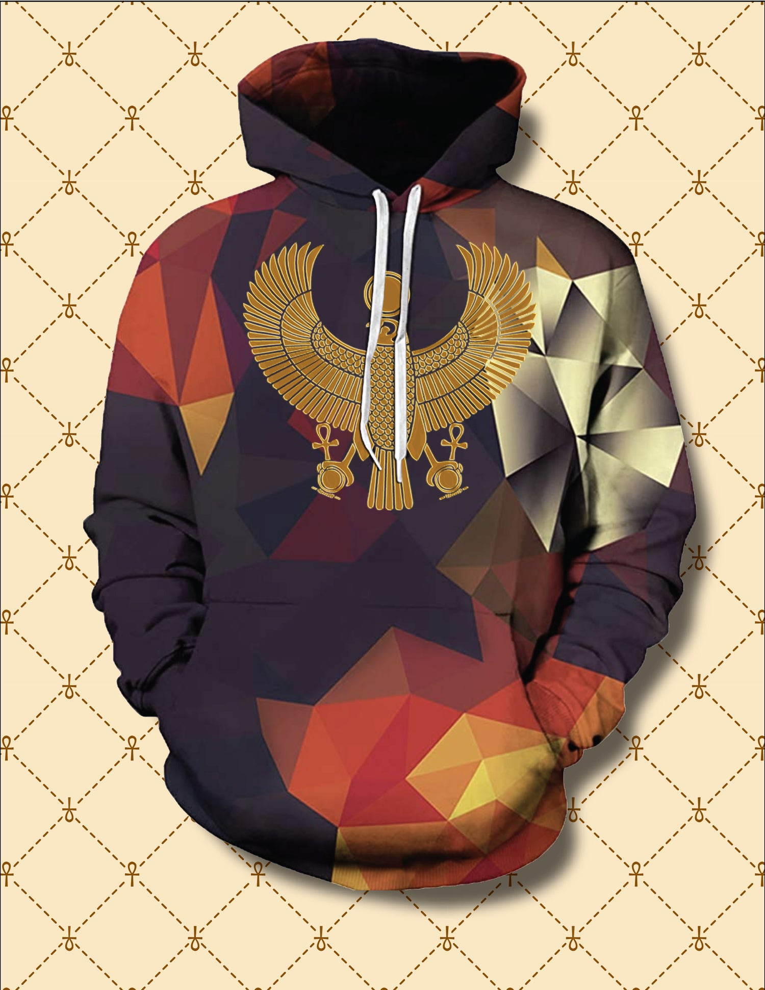 Image of Gold HRU Abstract Pyramids Hoodie