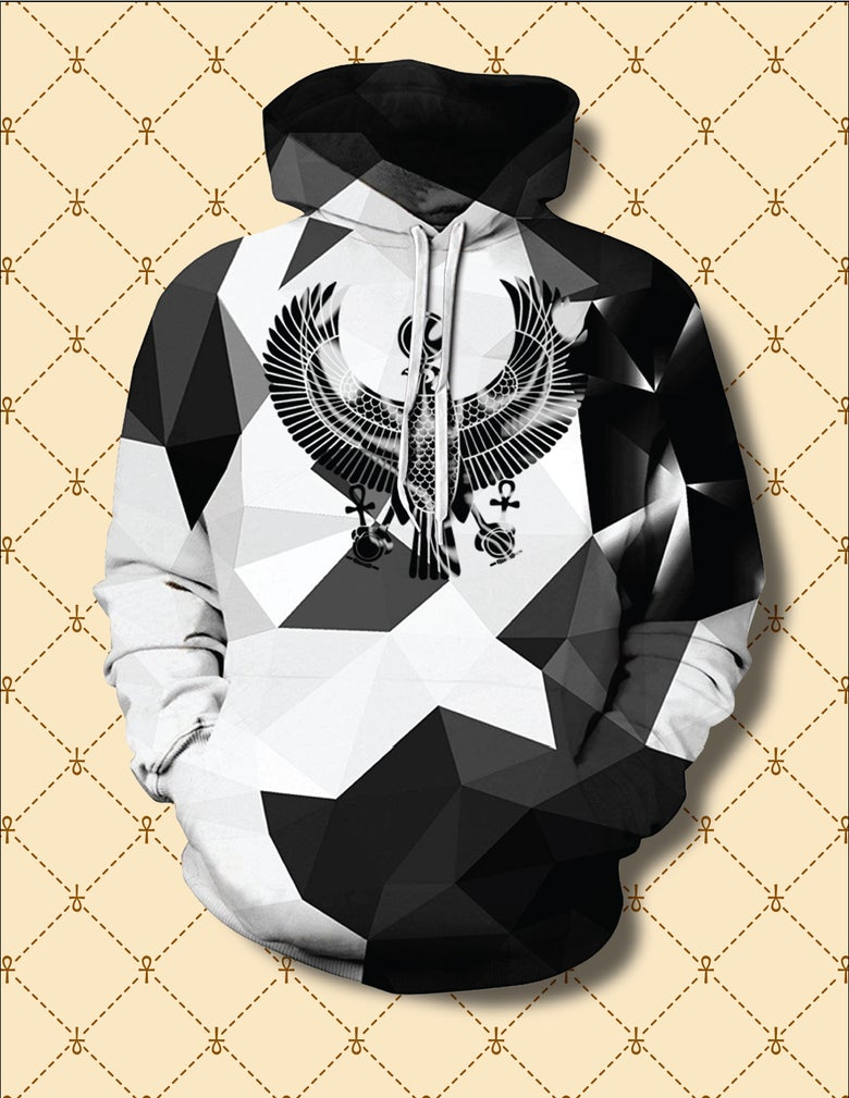 Image of Black HRU Abstract Pyramids Hoodie