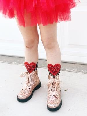 Image of Red Heart Beaded Fishnet Socks
